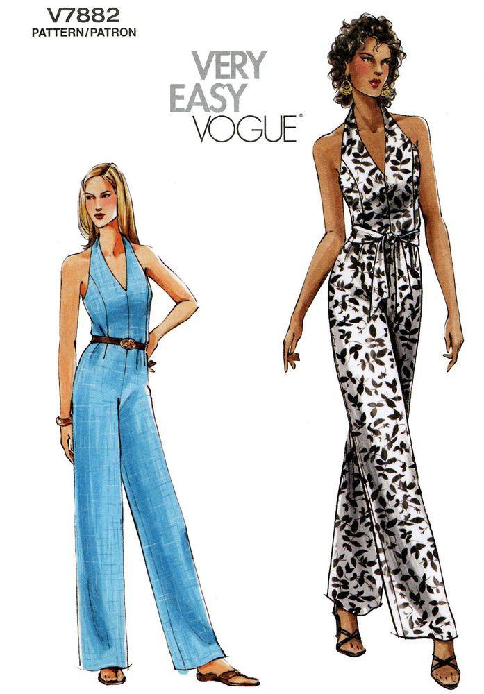 Vogue 7882 Halter Jumpsuit w/Flared Pants & Sash - Easy Sewing ...