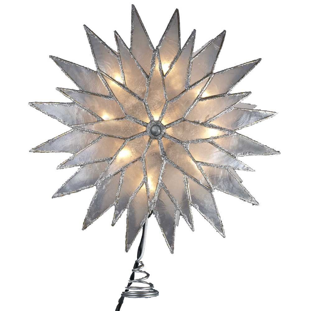 Amazon.com - Kurt Adler 9-Inch Sunburst Capiz Lighted Treetop with Silver Glittered Finish - Christmas Tree Toppers