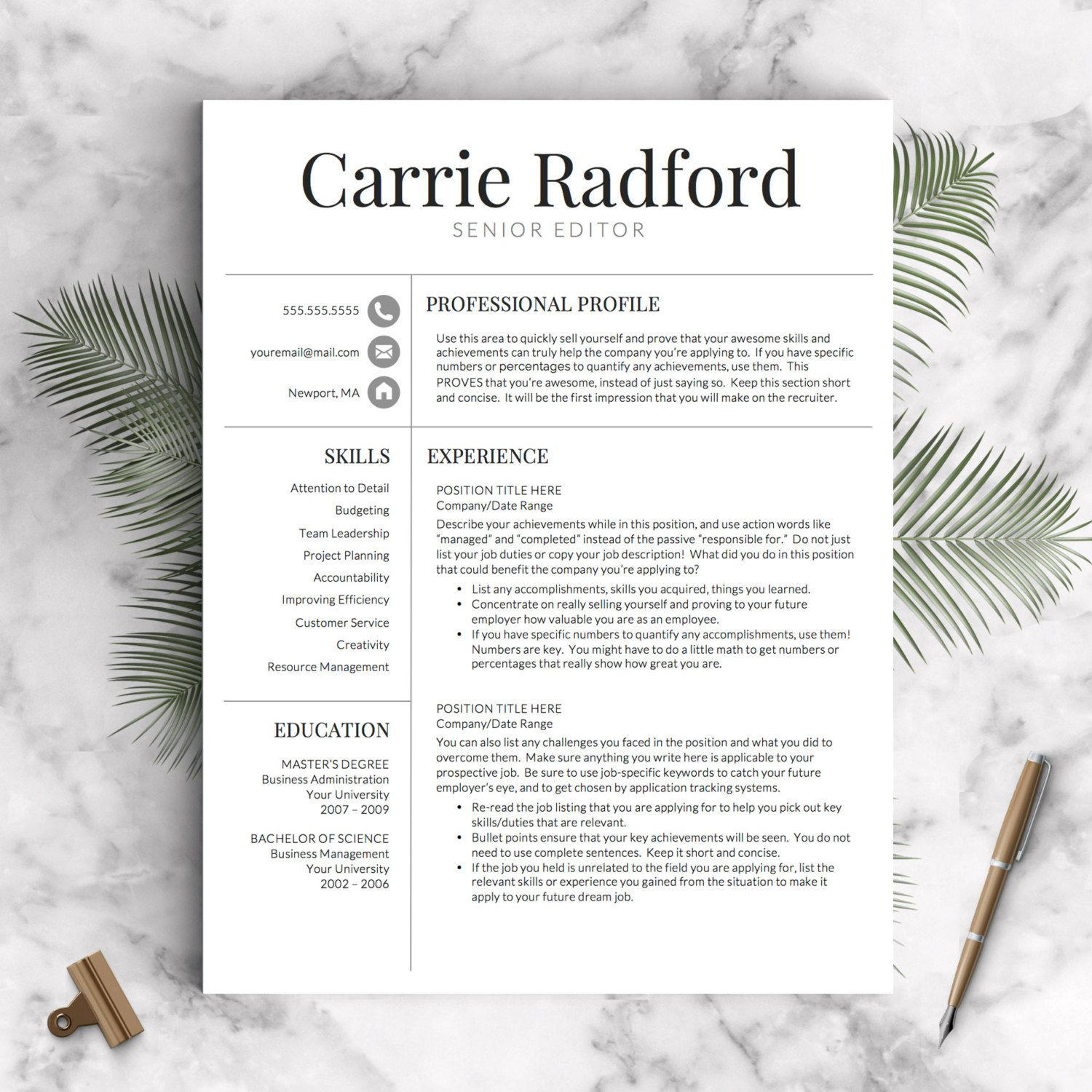 Proffesional Resume Resume Template  Professional Resume Template  Cv Template For .