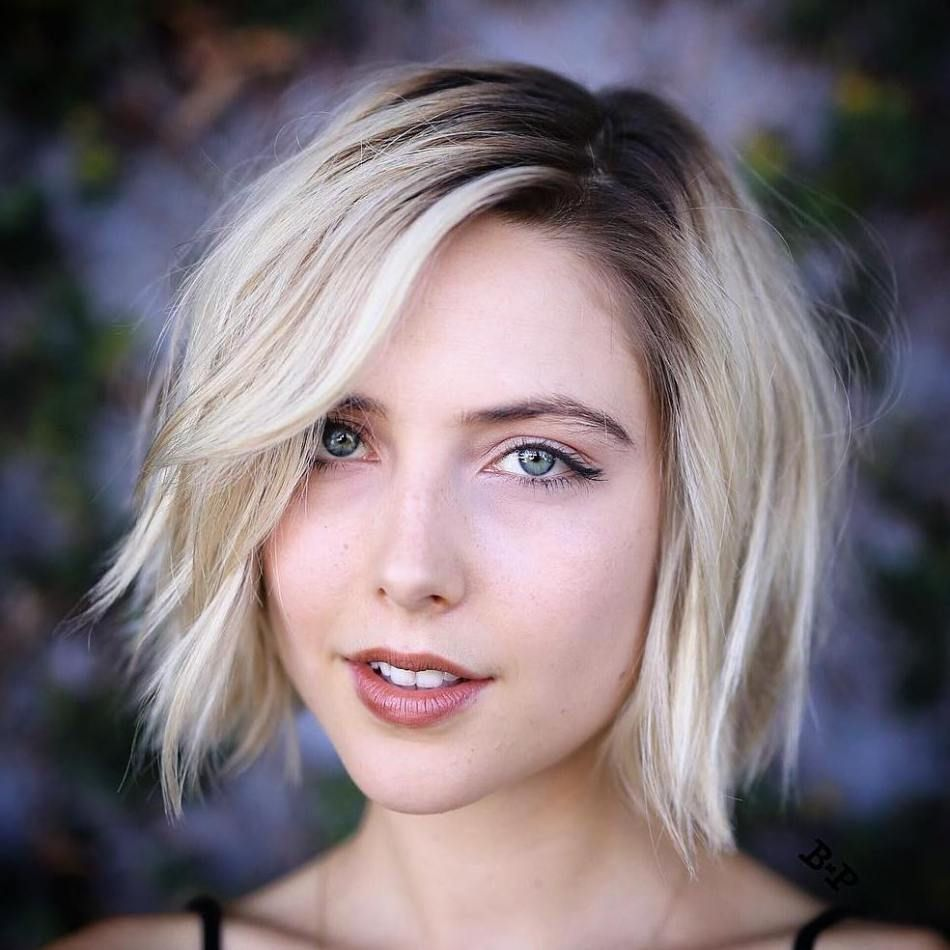 Shaggy Side-Parted Bob Dark roots and super blonde!
