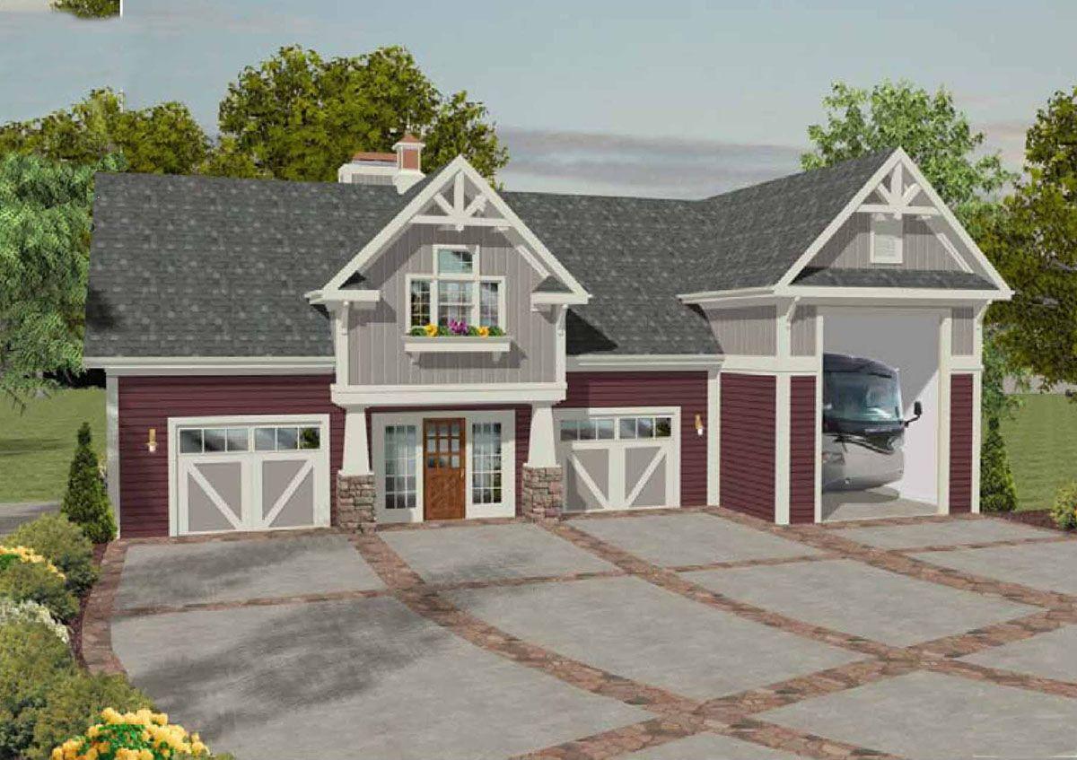 Plan 20083ga Rv Garage With Observation Deck Carriage House Plans Garage House Garage House Plans