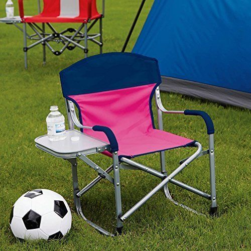 Kid S Directors Chair With Fold Away Side Table Great For Sports Camping Beach 15 X 22 X 23 Pink Navy