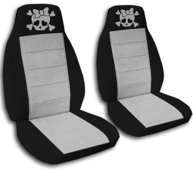 Amazon Com 2 Black And Silver Girly Skull Seat Covers For A 2009
