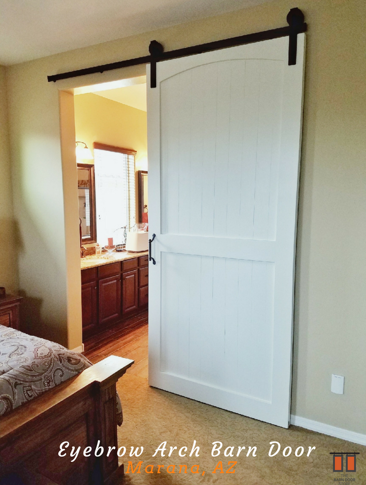Change Your White Regular Door To An Eyebrow Arch White Barndoor We Custom Built A Knotty Pine Swiss B Barn Door Installation Apartment Renovation Barn Door