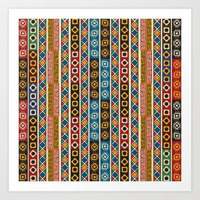 colorful ethno design art print by rceeh 1352 - Ikat Muster Ethno Design