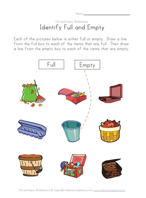 Matching Full And Empty Worksheet Worksheets For Kids Kids Math Worksheets Learning English For Kids
