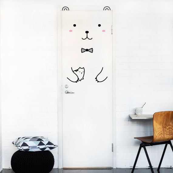 riku the gentle bear door decal / wall decal for doors, windows or