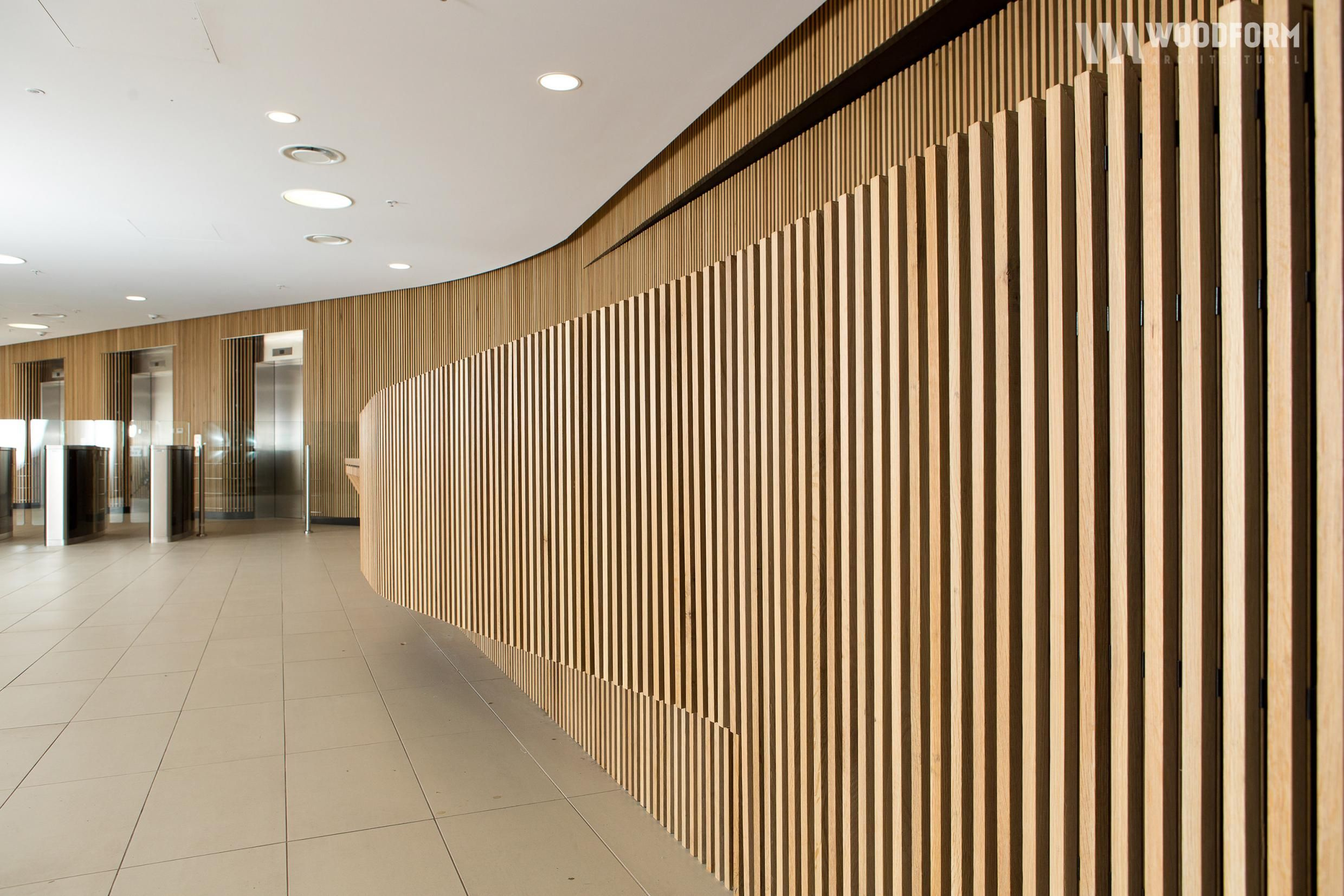 Image result for curved wall reception Timber battens