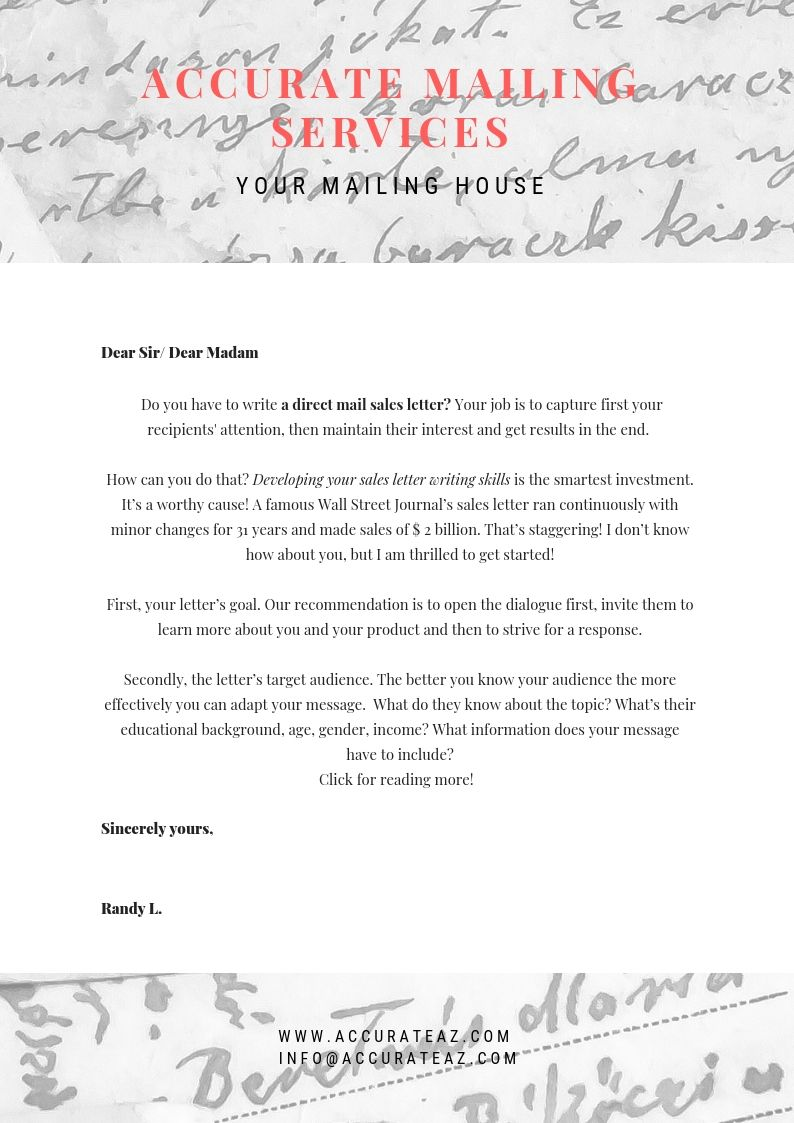 How To Write Direct Mail Sales Letter That Sells Accurateaz