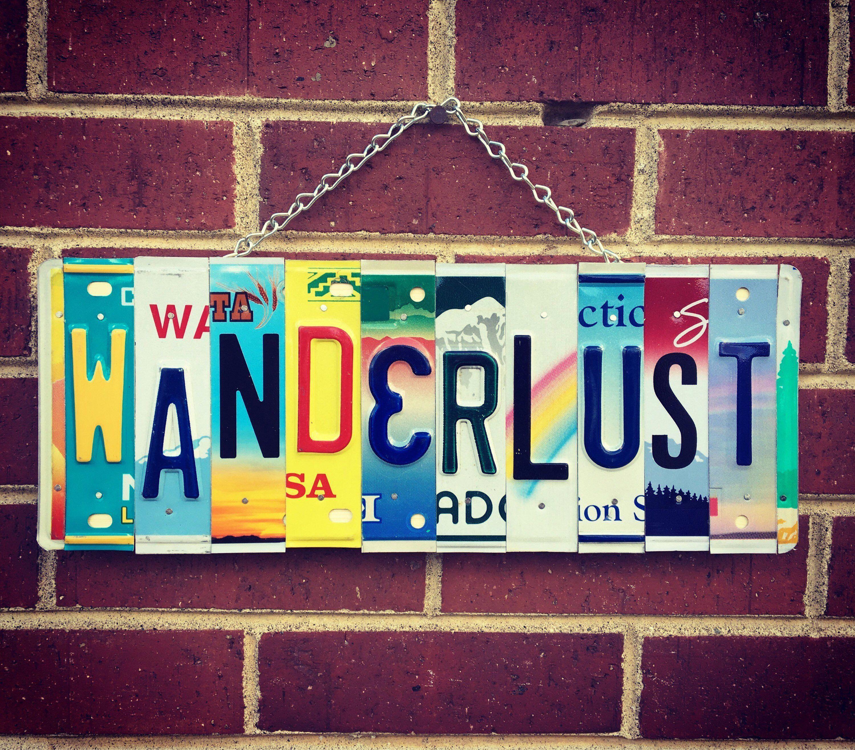 Emocionado de compartir este artículo de mi tienda #etsy: WANDERLUST License Plate Sign – H …