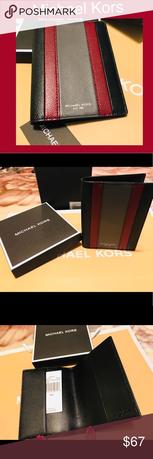 46a44d0041a 🚓Michael Kors Leather Passport holder wallet NWT 🚓 AUTHENTIC Michael Kors  Men s Warren Passport