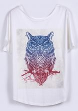 White Short Sleeve Owl Print Loose T-Shirt US$ 19.51