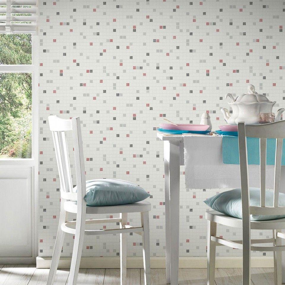 Papel pintado para cocina y ba o rojo negro gris plata - Papeles pintados cocina ...