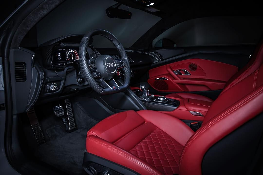 beautiful interior in the 2018 audi r8 red and black interior custom diamond stitch door panels. Black Bedroom Furniture Sets. Home Design Ideas