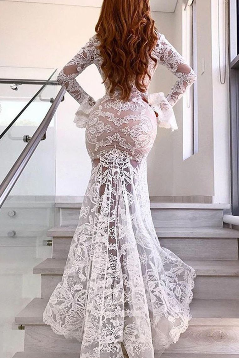 32++ White long sleeve v neck wedding dress ideas
