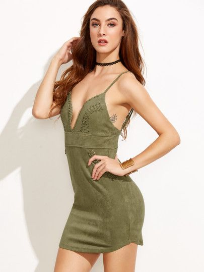 Army Green Spaghetti Strap Backless Bodycon Dress -SheIn(Sheinside)