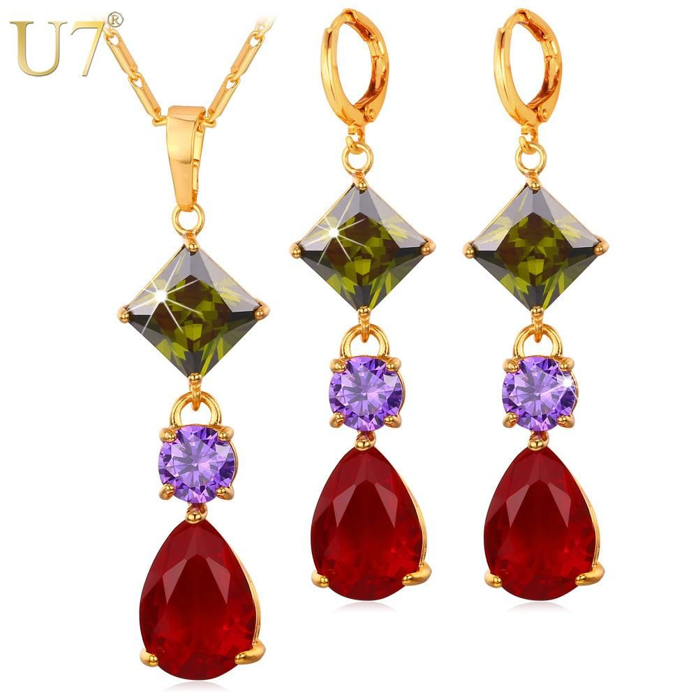 U cubic zirconia jewelry set for women accessories gold color