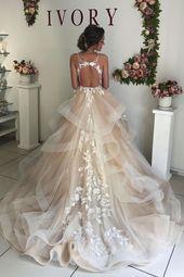Bretelles spaghetti appliques robe de mariée champagne volants en cascade