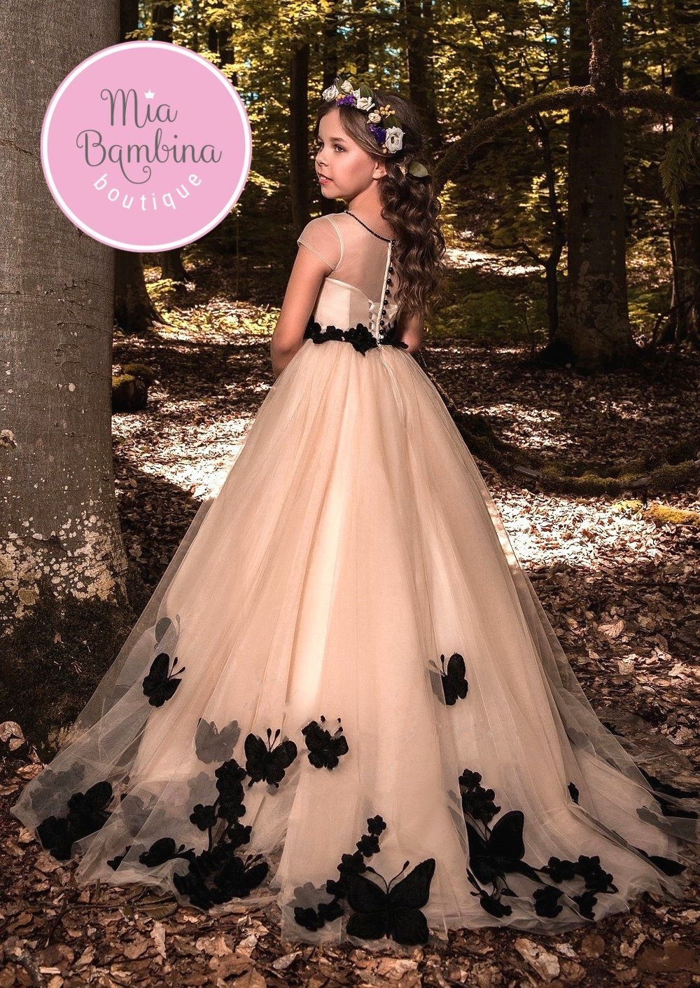 fc8590ad25b The Pandora is a nude and black flower girl dress with beautiful sheer  overlay bodice with short sleeves and a multi-layered tulle ...