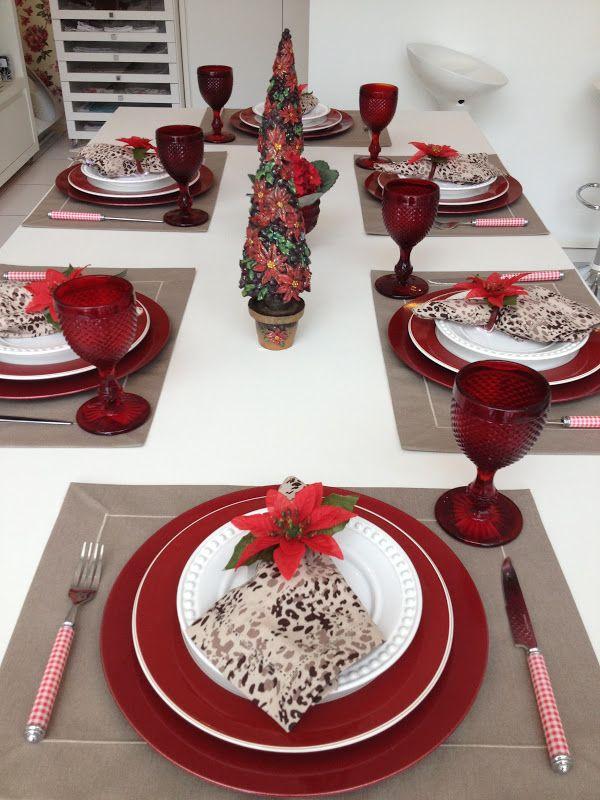 Pin de Domi Presentes em Natal Mesa de natal, Decoraç u00e3o mesa de natal e Mesa de natal simples -> Decoração De Natal Simples E Barata Para Mesa