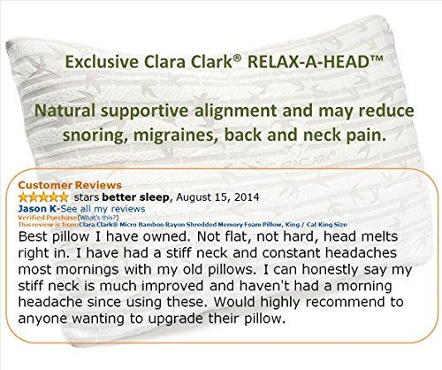Clara Clark Rayon Made From Bamboo Shredded Memory Foam Pillow King Size Memory Foam Pillow Cal King Size King Size