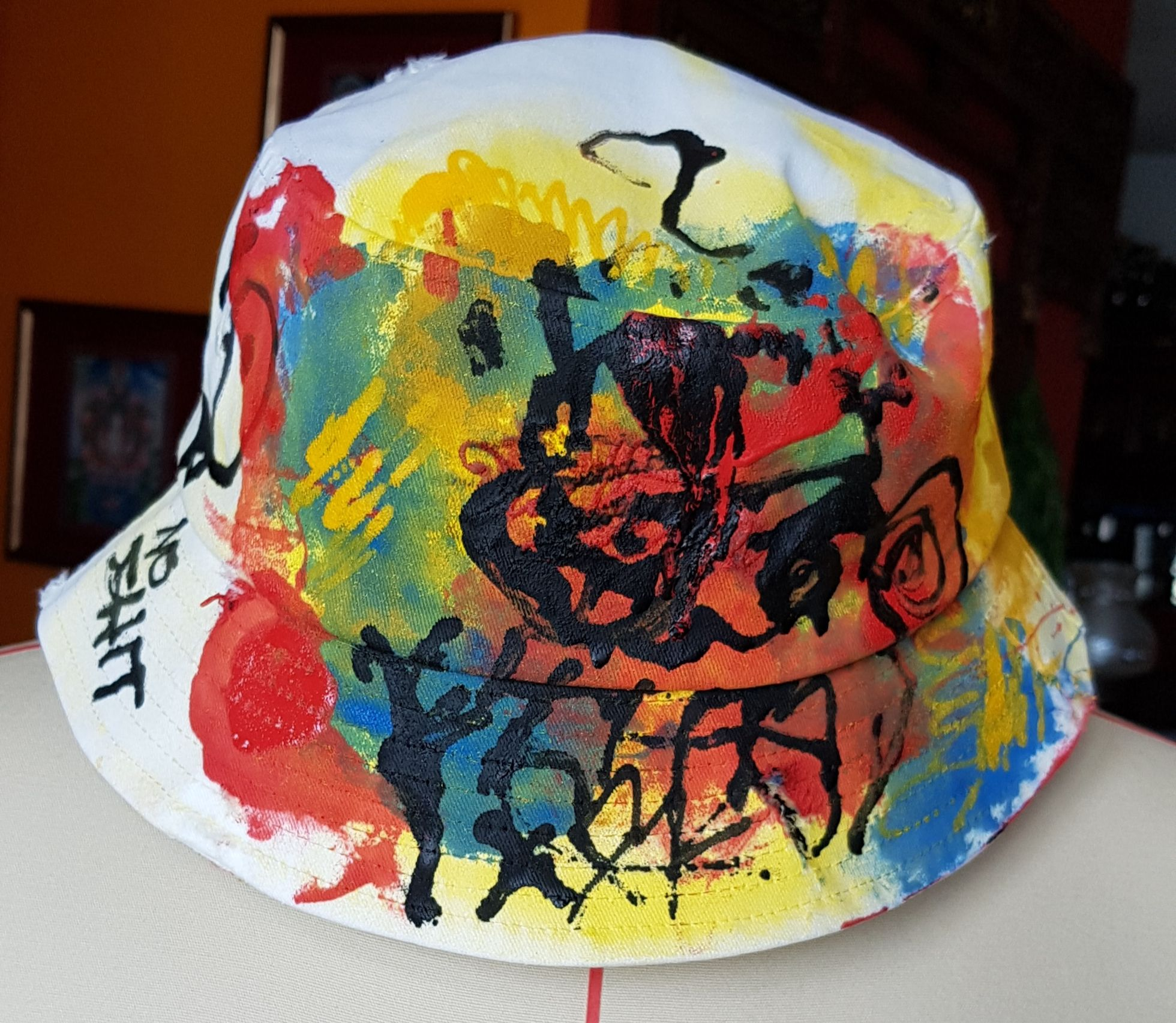 A Graffiti Bucket Hat Done In The Jean Michel Basquiat Graffiti Style Only Hand Pained One Piece No Custom Bucket Hats Bucket Hat Fashion Bucket Hat Painting