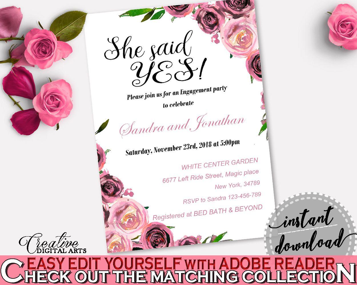 Invitation Template Bridal Shower Invitation Template Floral Bridal - Bridal party invitations templates