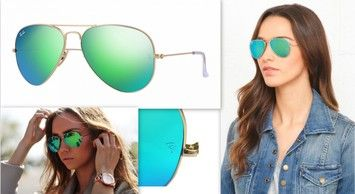 fb93aa3df8c Ray-Ban Ray-Ban Aviator Flash Sunglasses RB3025 112 17 Green Mirror Lens  With Gold Frame Size 58mm