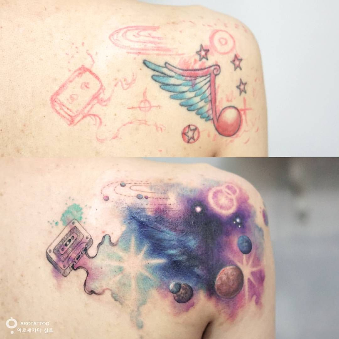 Space Music Flowing Cover Up Tattoo See This Instagram Photo By Tattooist Silo 243 Likes Up Tattoos Cover Tattoo Cover Up Tattoos