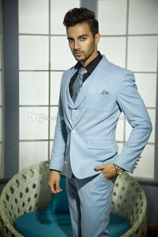 High Quality One Button Sky Blue Groom Tuxedos Notch Lapel Groomsmen ...