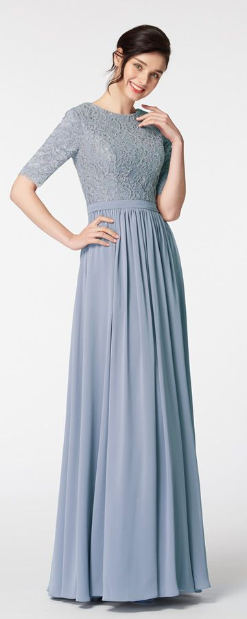 Dusty Blue Modest Bridesmaid Dress with Sleeves ...