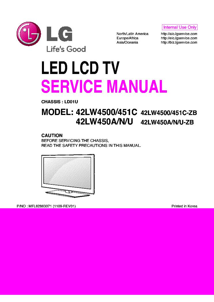 Lg 42lw4500 Zb 451c Zb 42lw450a N U Zb Chassis Ld01u Mfl62863071 1109 Rev01 Service Manual Free Download Schematics Eeprom Repair Tv Services Manual Repair
