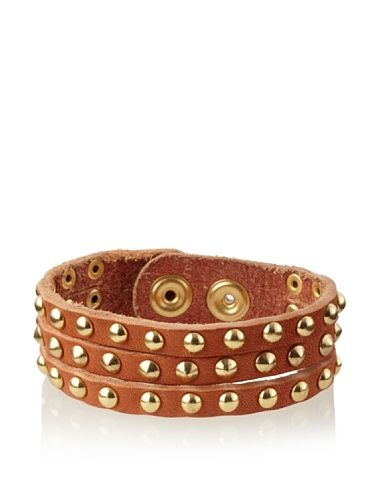 60% OFF Linea Pelle Single Wrap Triple Row Bracelet with Domed and Cone Studs, Dark Orange and Gold
