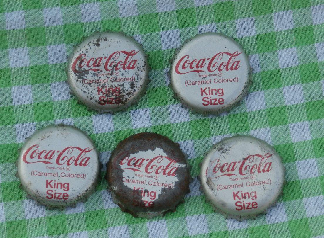 5 Old Cork Lined Coca Cola King Size Bottle Caps, Coke Bottle Cap