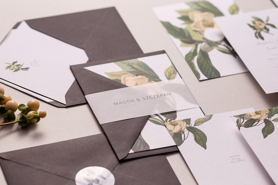 Botaniczne Zielone Nowoczesne Zaproszenia ślubne Zaproszenia