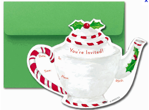 invitations to the christmas tea party found at the rosemary