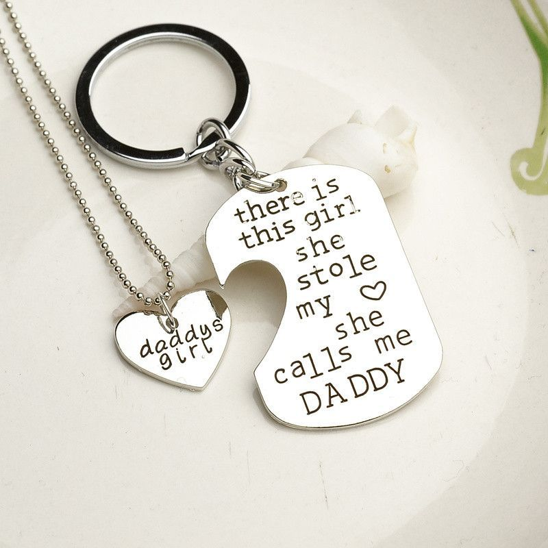 Lovely Father Daughter Gifts Part - 6: Dominic Father Daughter Personalized Keychain U0026 Heart Necklace