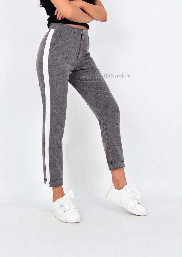 Pantalon à pince gris avec bande blanche sur les côtés   Street ... 90b4e05373b