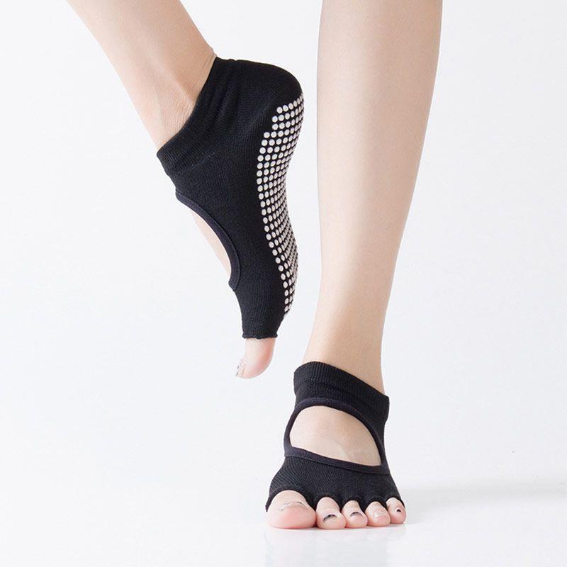 Girls Cotton Yoga Gym Toe Ballet Non Slip Massage Barre Pilates Dance Socks