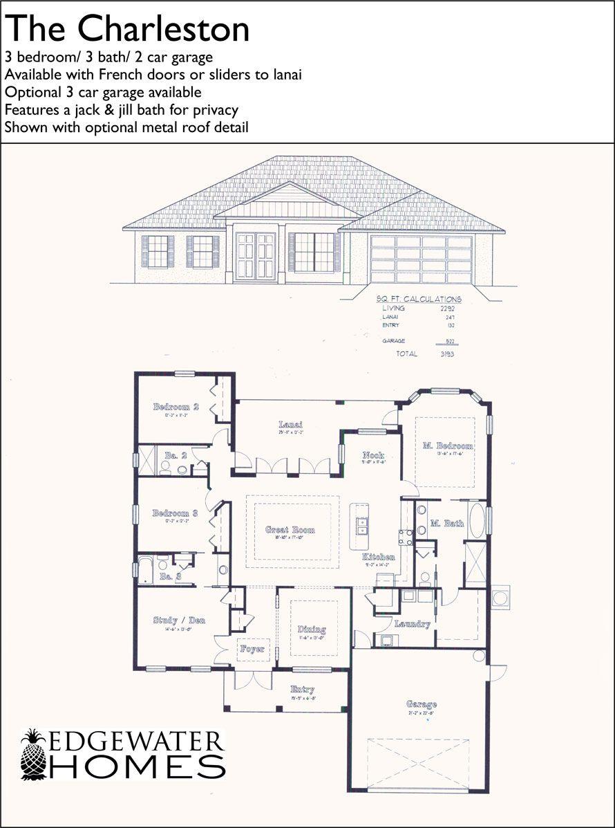 The Charleston 3 Bedroom 3 Bathroom Floorplan Floor Plans House Floor Plans House Plans One Story