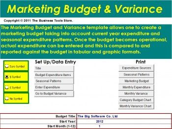 Marketing Excel Budget Template With Variance Analysis  Tool
