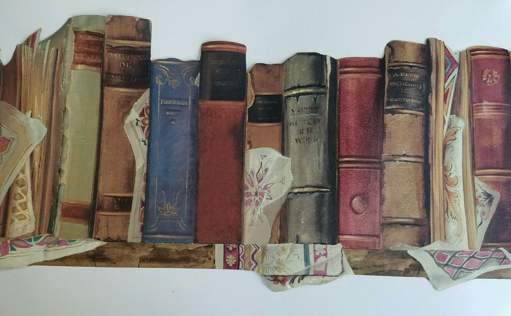York Antique Books Library Bookshelf Wallpaper Border lot