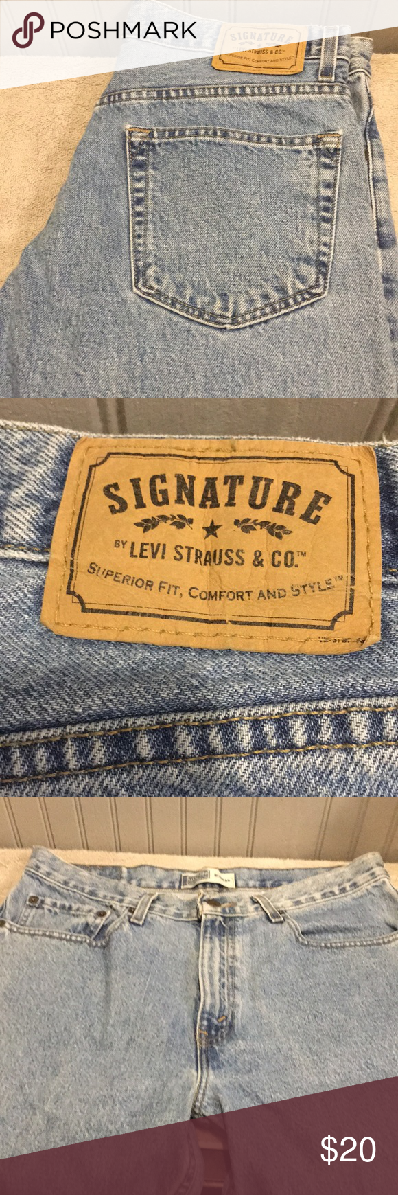 8aa40be4 Vintage Levi Strauss Men's Jeans EUC. Signature style and look of Levi's.  Lighter blue in color. Straight leg. Inseam 32 Signature by Levi Strauss  Jeans ...