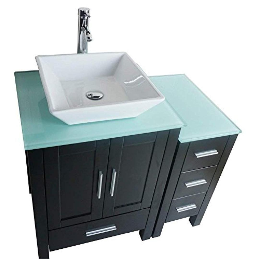 36 Black Bathroom Vanity Cabinet Single Sink Glass Top Paint Mdf