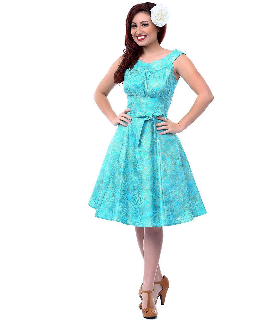 Aqua & Gold 1950s Style Amanda Swing Dress | Style | Pinterest ...