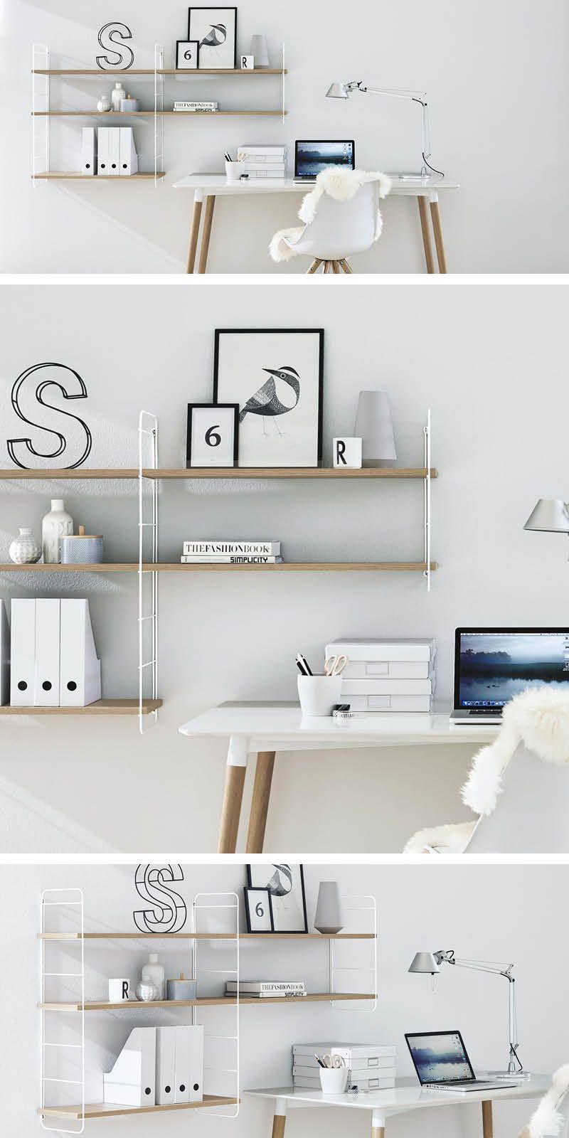 Home-office-design-ideen schickes retro wandleiter regal weißeiche u home office