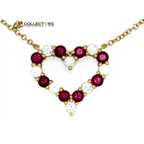 Tiffany co 18k yellow gold diamond ruby heart pendant necklace 16 tiffany co 18k yellow gold diamond ruby heart pendant necklace 16 tiffany aloadofball Image collections
