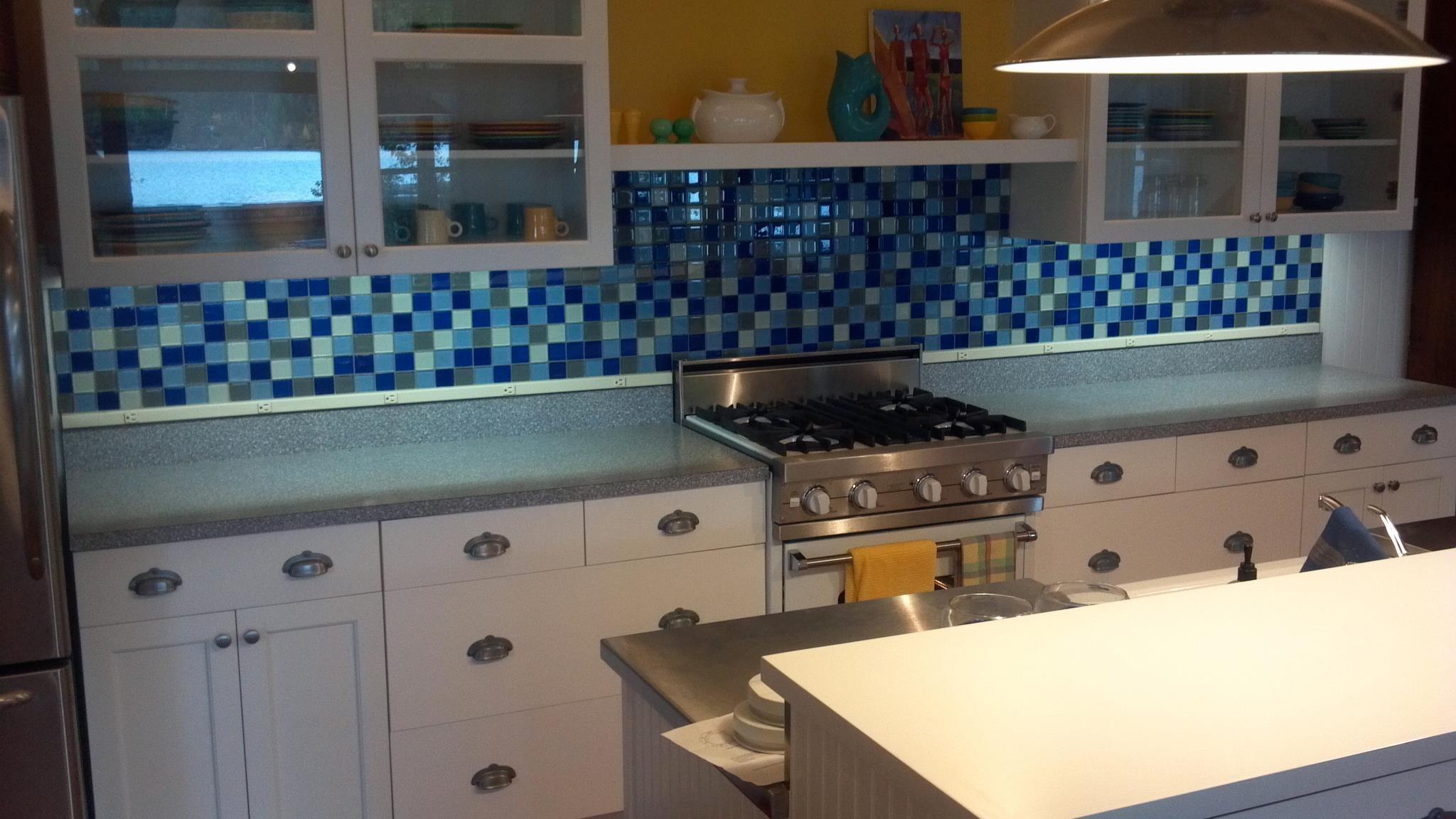 Love the Blue Backsplash, so creative! Purser Tile & Stone | Home ...