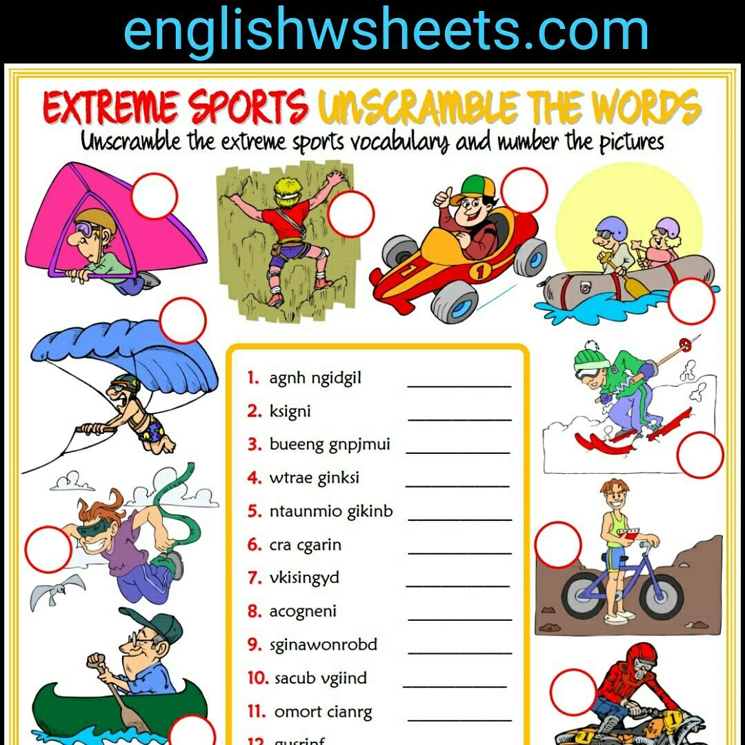 Extreme Sports Esl Printable Unscramble Words For Kids