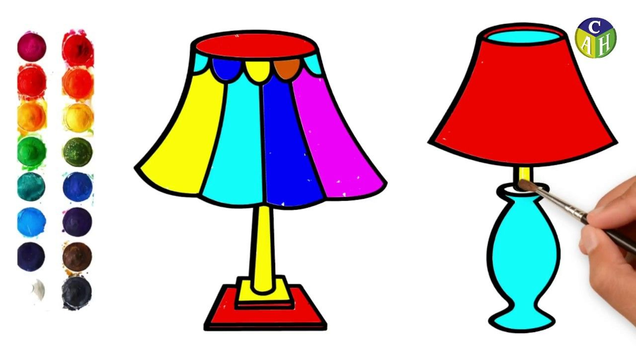 How To Draw Table Lamp Easy Steps For Kids Draw A Table Lamp Color Art In 2020 Colorful Art Drawing For Kids Table Lamp